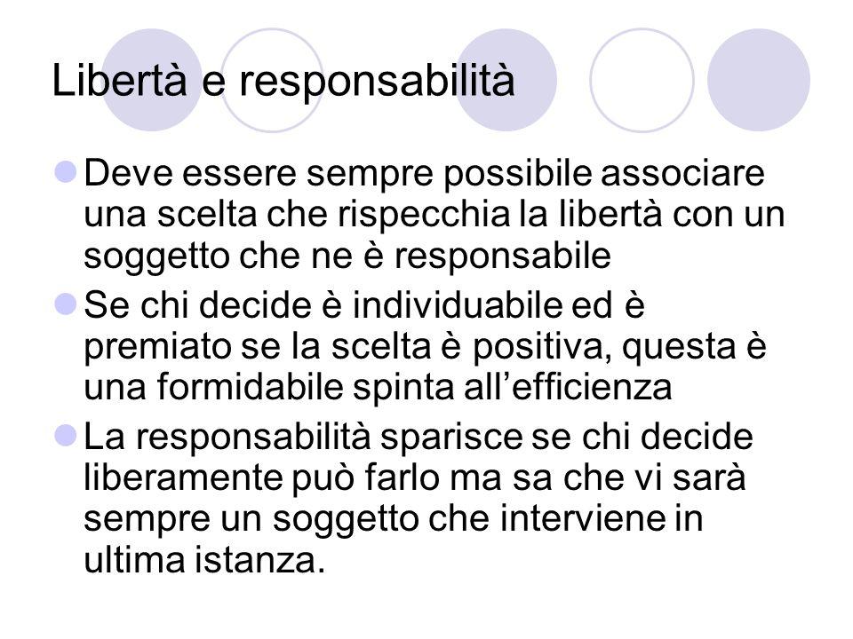 Libertà e responsabilità Deve essere sempre possibile associare una scelta che rispecchia la libertà con un soggetto che ne è responsabile Se chi deci
