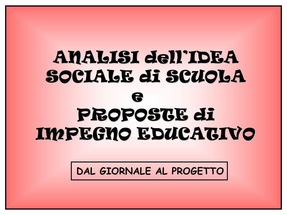 ANALISI dellIDEA SOCIALE di SCUOLA e PROPOSTE di IMPEGNO EDUCATIVO DAL GIORNALE AL PROGETTO