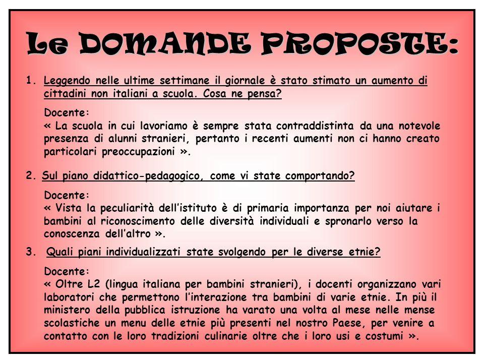 Le DOMANDE PROPOSTE: 1.Leggendo nelle ultime settimane il giornale è stato stimato un aumento di cittadini non italiani a scuola. Cosa ne pensa? Docen