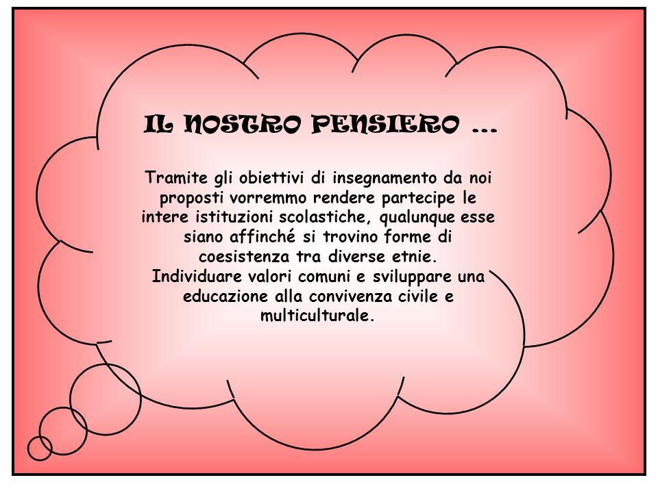 IL NOSTRO PENSIERO … Tramite gli obiettivi di insegnamento da noi proposti vorremmo rendere partecipe le intere istituzioni scolastiche, qualunque ess