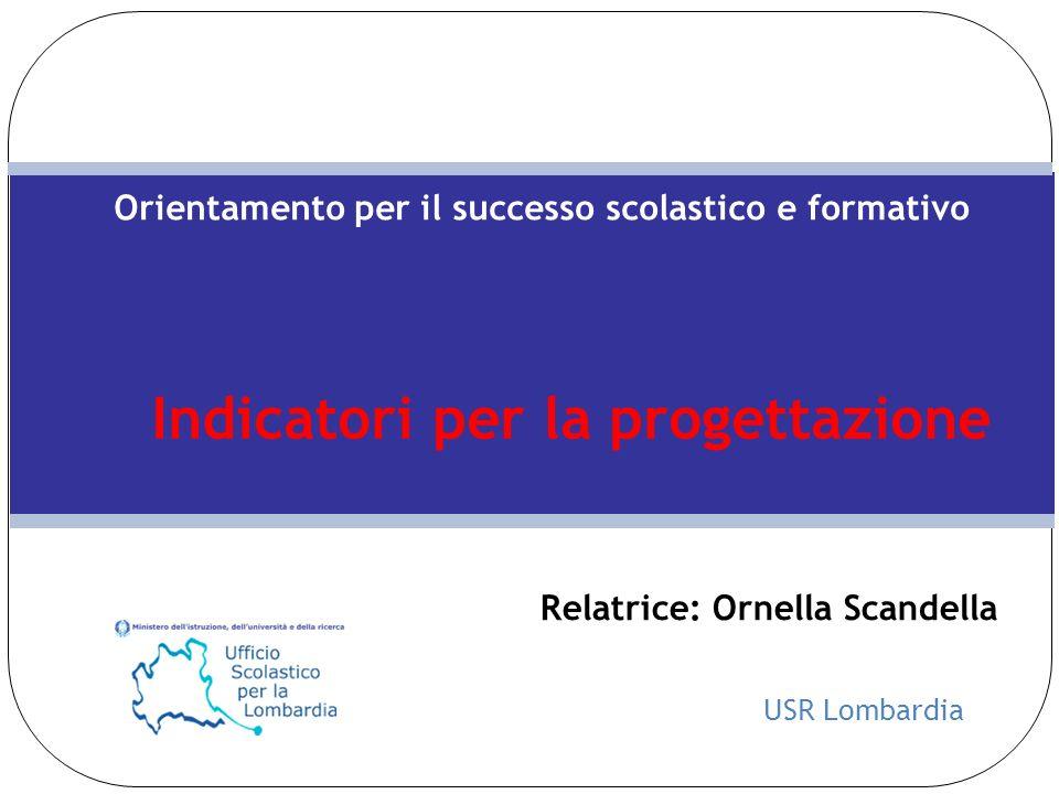USR Lombardia Orientamento per il successo scolastico e formativo Indicatori per la progettazione Relatrice: Ornella Scandella