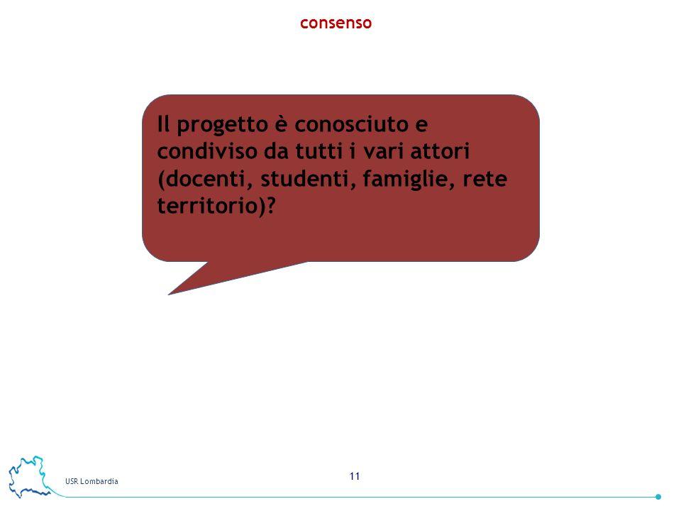 USR Lombardia 11 consenso Il progetto è conosciuto e condiviso da tutti i vari attori (docenti, studenti, famiglie, rete territorio)?