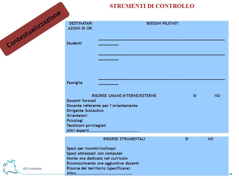 USR Lombardia 12 STRUMENTI DI CONTROLLO Contestualizzazione DESTINATARI AZIONI DI OR. BISOGNI RILEVATI Studenti ______________________________________