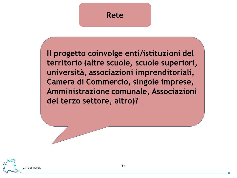 USR Lombardia 14 Rete Il progetto coinvolge enti/istituzioni del territorio (altre scuole, scuole superiori, università, associazioni imprenditoriali,