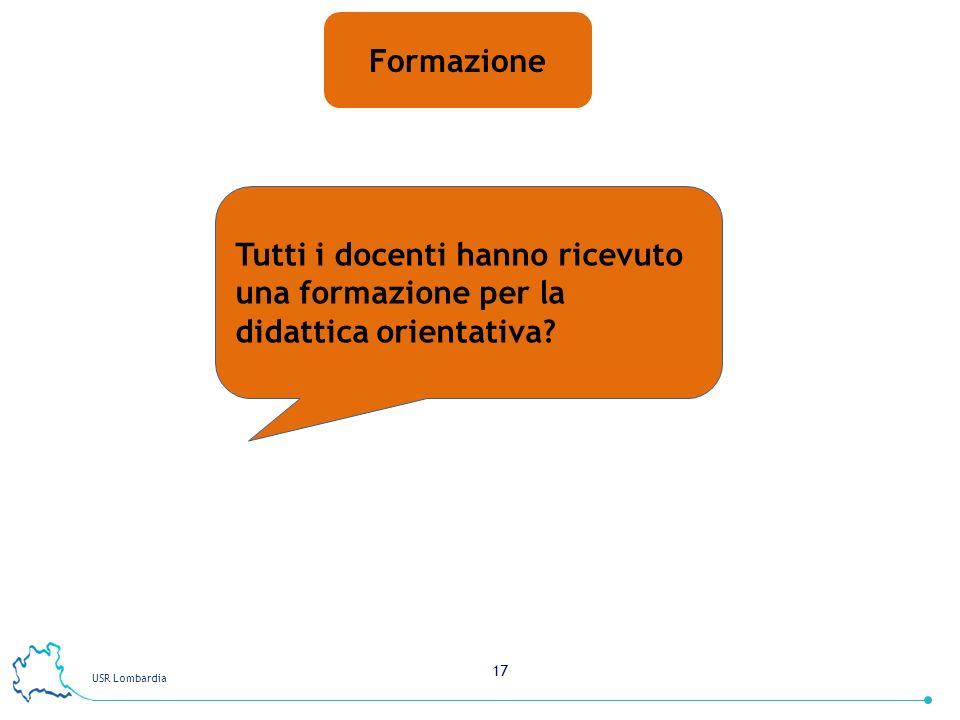 USR Lombardia 17 Formazione Tutti i docenti hanno ricevuto una formazione per la didattica orientativa?