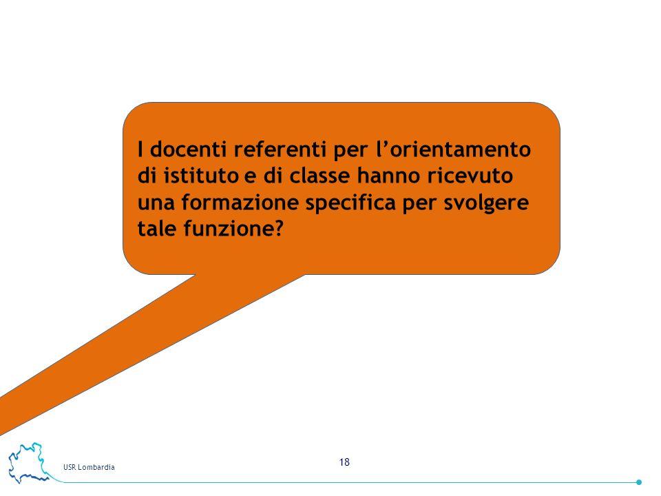 USR Lombardia 18 I docenti referenti per lorientamento di istituto e di classe hanno ricevuto una formazione specifica per svolgere tale funzione?