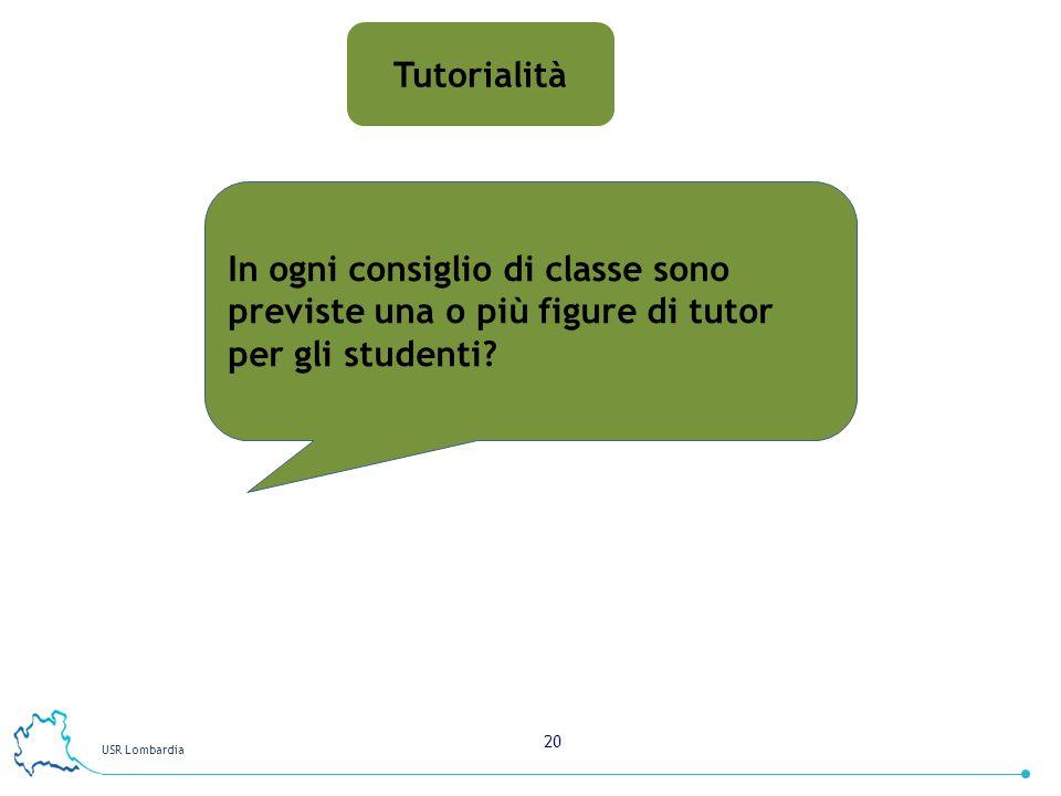 USR Lombardia 20 Tutorialità In ogni consiglio di classe sono previste una o più figure di tutor per gli studenti?