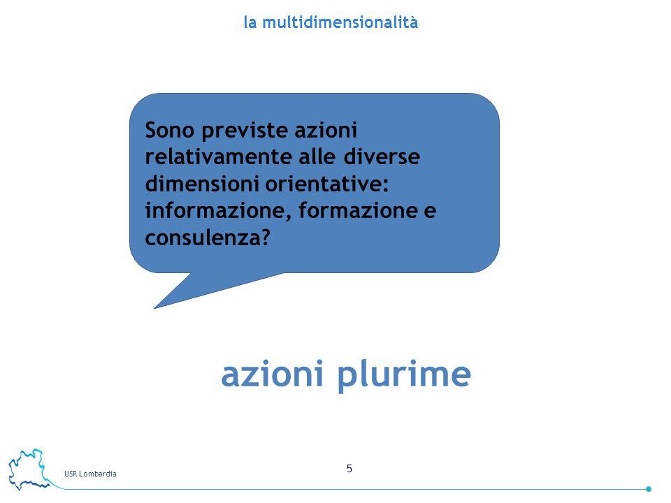 USR Lombardia 5 la multidimensionalità Sono previste azioni relativamente alle diverse dimensioni orientative: informazione, formazione e consulenza?