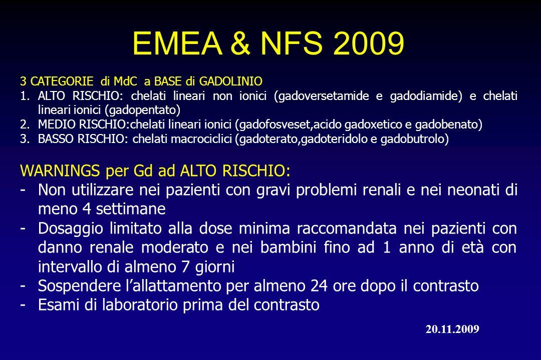 EMEA & NFS 2009 3 CATEGORIE di MdC a BASE di GADOLINIO 1.ALTO RISCHIO: chelati lineari non ionici (gadoversetamide e gadodiamide) e chelati lineari io