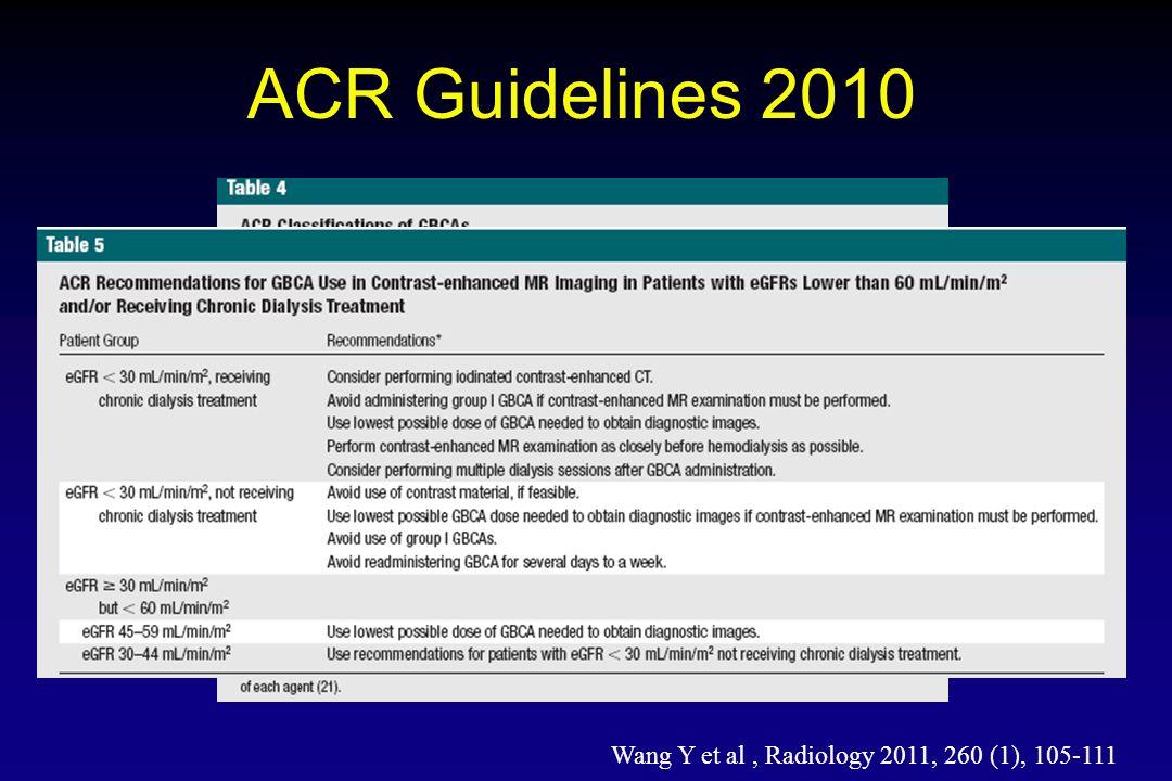 ACR Guidelines 2010 Wang Y et al, Radiology 2011, 260 (1), 105-111
