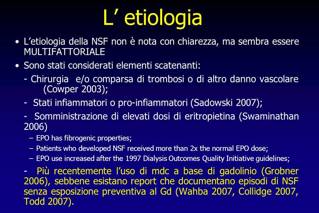 L etiologia Letiologia della NSF non è nota con chiarezza, ma sembra essere MULTIFATTORIALE Sono stati considerati elementi scatenanti: - Chirurgia e/