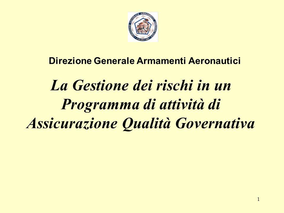 1 La Gestione dei rischi in un Programma di attività di Assicurazione Qualità Governativa Direzione Generale Armamenti Aeronautici