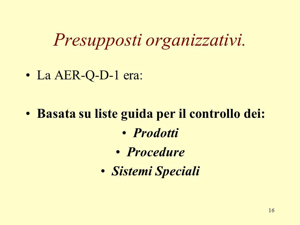 16 Presupposti organizzativi. La AER-Q-D-1 era: Basata su liste guida per il controllo dei: Prodotti Procedure Sistemi Speciali