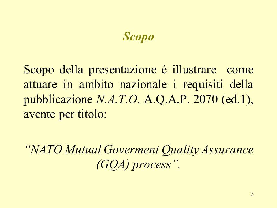 2 Scopo Scopo della presentazione è illustrare come attuare in ambito nazionale i requisiti della pubblicazione N.A.T.O. A.Q.A.P. 2070 (ed.1), avente