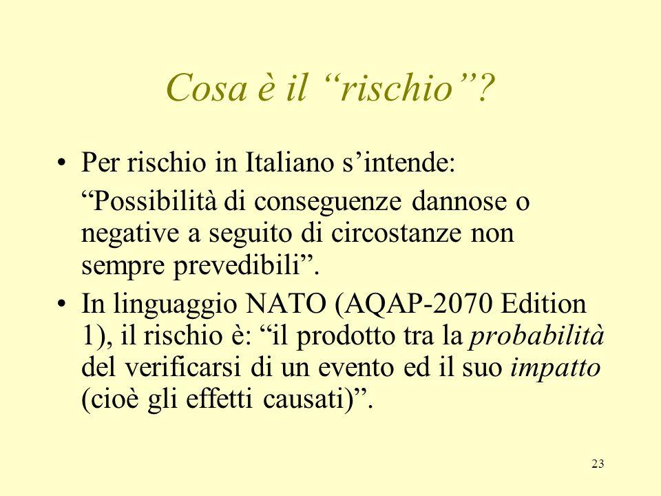 23 Cosa è il rischio? Per rischio in Italiano sintende: Possibilità di conseguenze dannose o negative a seguito di circostanze non sempre prevedibili.