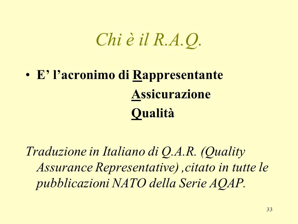 33 Chi è il R.A.Q. E lacronimo di Rappresentante Assicurazione Qualità Traduzione in Italiano di Q.A.R. (Quality Assurance Representative),citato in t