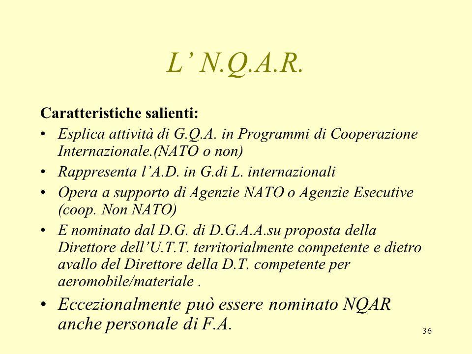 36 L N.Q.A.R. Caratteristiche salienti: Esplica attività di G.Q.A. in Programmi di Cooperazione Internazionale.(NATO o non) Rappresenta lA.D. in G.di