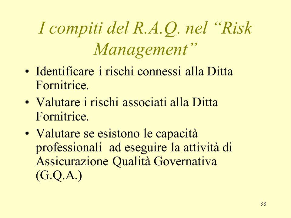 38 I compiti del R.A.Q. nel Risk Management Identificare i rischi connessi alla Ditta Fornitrice. Valutare i rischi associati alla Ditta Fornitrice. V