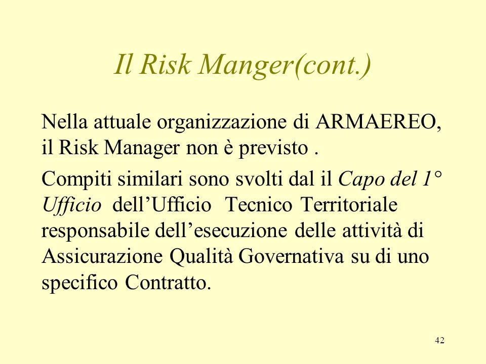 42 Il Risk Manger(cont.) Nella attuale organizzazione di ARMAEREO, il Risk Manager non è previsto. Compiti similari sono svolti dal il Capo del 1° Uff