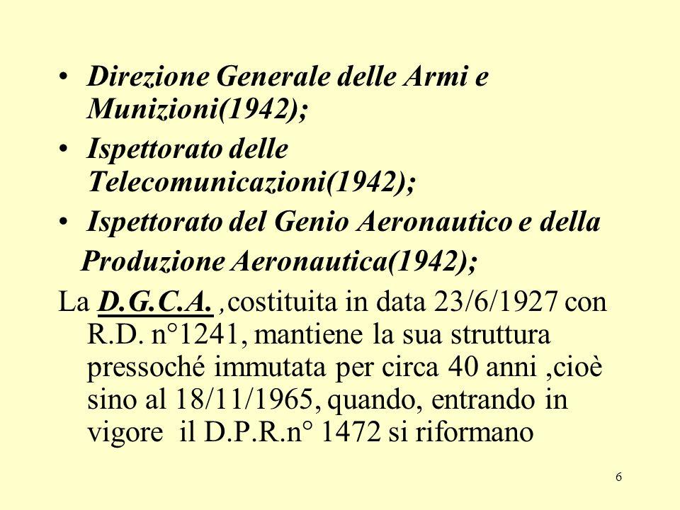 6 Direzione Generale delle Armi e Munizioni(1942); Ispettorato delle Telecomunicazioni(1942); Ispettorato del Genio Aeronautico e della Produzione Aer