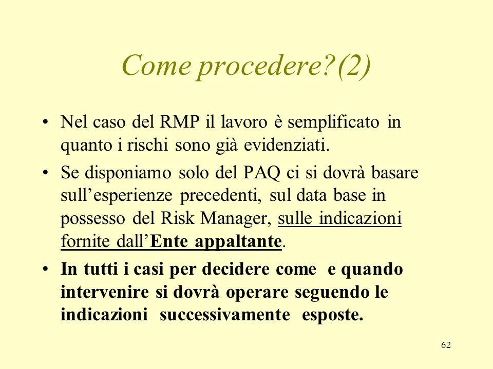 62 Come procedere?(2) Nel caso del RMP il lavoro è semplificato in quanto i rischi sono già evidenziati. Se disponiamo solo del PAQ ci si dovrà basare