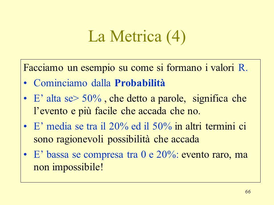 66 La Metrica (4) Facciamo un esempio su come si formano i valori R. Cominciamo dalla Probabilità E alta se> 50%, che detto a parole, significa che le