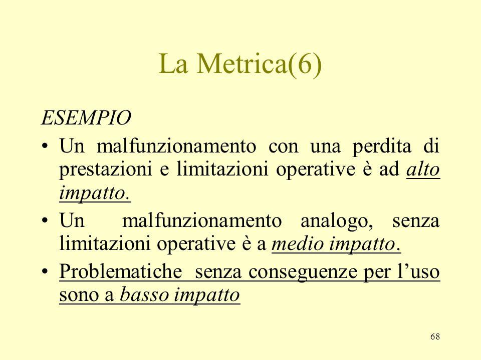 68 La Metrica(6) ESEMPIO Un malfunzionamento con una perdita di prestazioni e limitazioni operative è ad alto impatto. Un malfunzionamento analogo, se