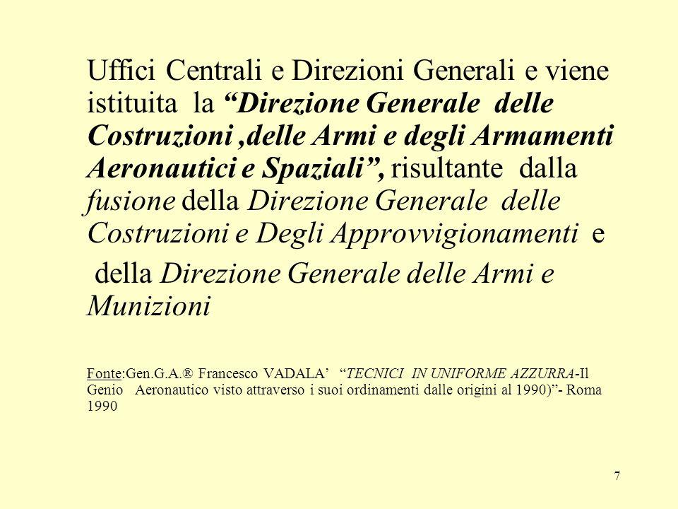 7 Uffici Centrali e Direzioni Generali e viene istituita la Direzione Generale delle Costruzioni,delle Armi e degli Armamenti Aeronautici e Spaziali,