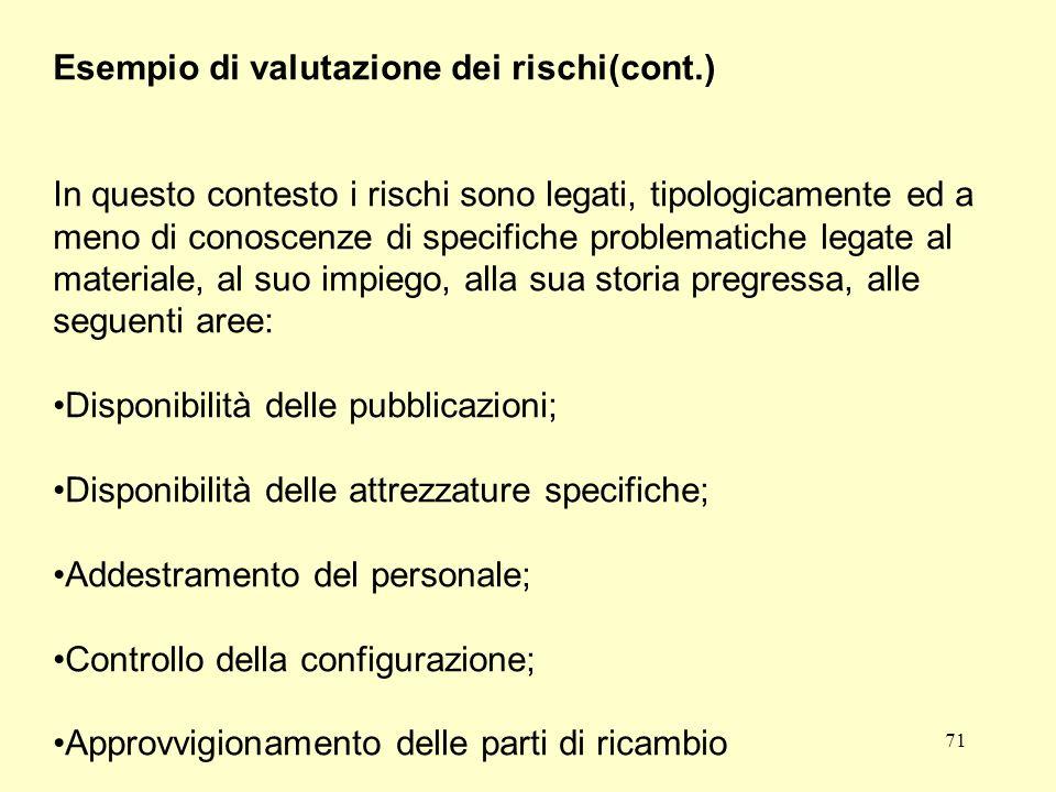 71 Esempio di valutazione dei rischi(cont.) In questo contesto i rischi sono legati, tipologicamente ed a meno di conoscenze di specifiche problematic