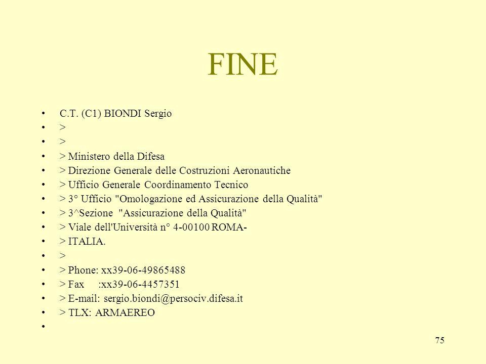 75 FINE C.T. (C1) BIONDI Sergio > > Ministero della Difesa > Direzione Generale delle Costruzioni Aeronautiche > Ufficio Generale Coordinamento Tecnic