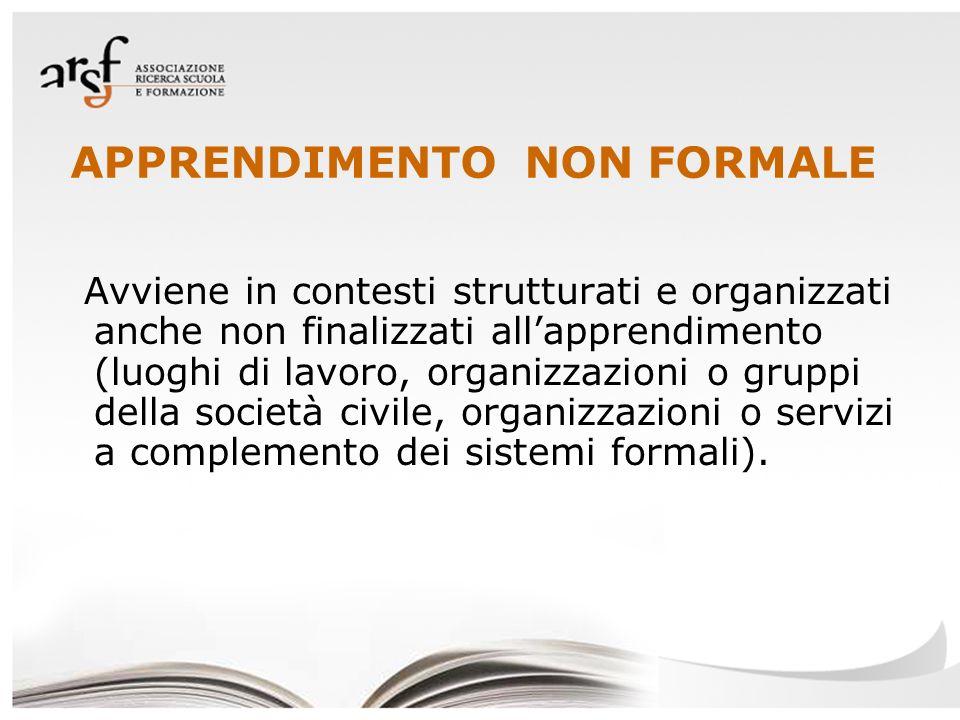 APPRENDIMENTO NON FORMALE Avviene in contesti strutturati e organizzati anche non finalizzati allapprendimento (luoghi di lavoro, organizzazioni o gru