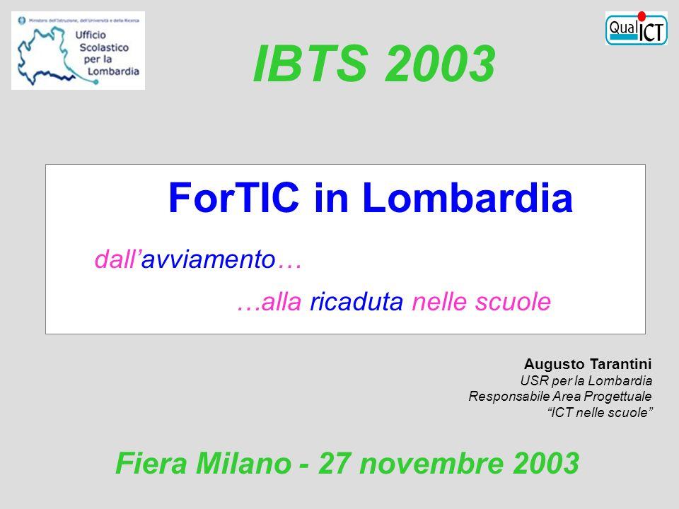 ForTIC in Lombardia dallavviamento… …alla ricaduta nelle scuole Augusto Tarantini USR per la Lombardia Responsabile Area Progettuale ICT nelle scuole