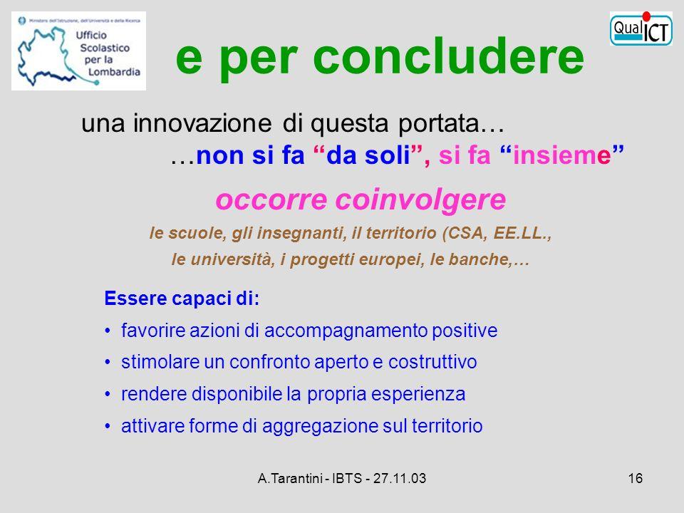 A.Tarantini - IBTS - 27.11.0316 occorre coinvolgere le scuole, gli insegnanti, il territorio (CSA, EE.LL., le università, i progetti europei, le banch