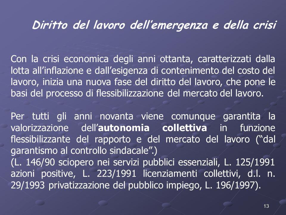13 Diritto del lavoro dellemergenza e della crisi Con la crisi economica degli anni ottanta, caratterizzati dalla lotta allinflazione e dallesigenza d