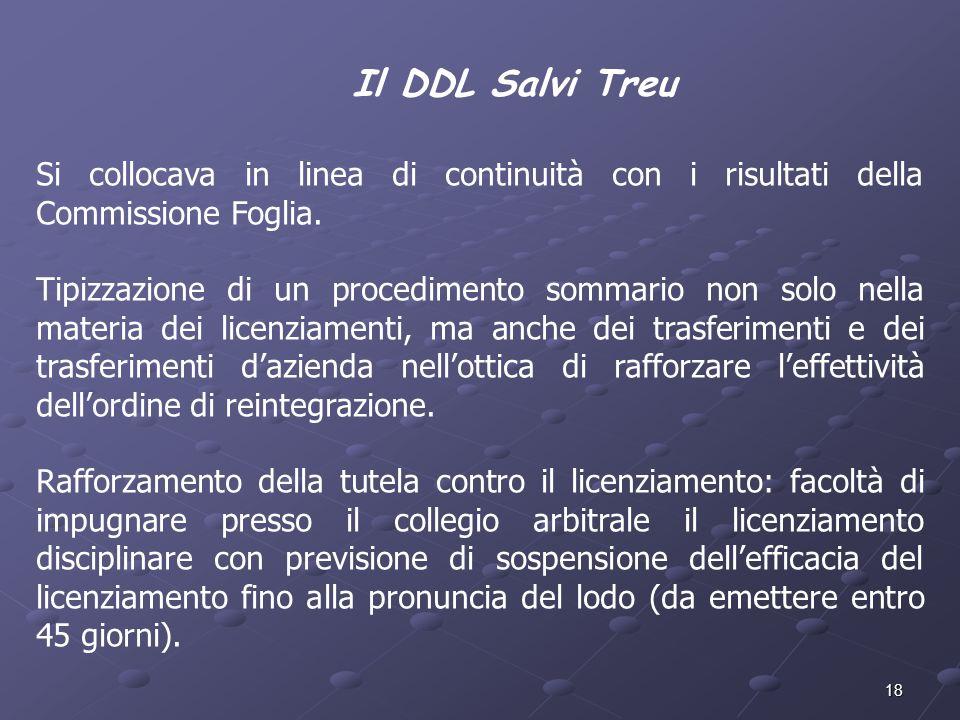 18 Il DDL Salvi Treu Si collocava in linea di continuità con i risultati della Commissione Foglia. Tipizzazione di un procedimento sommario non solo n