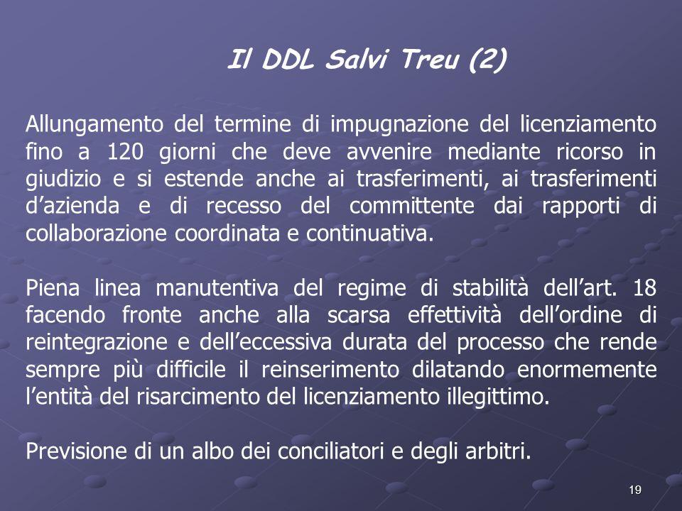19 Il DDL Salvi Treu (2) Allungamento del termine di impugnazione del licenziamento fino a 120 giorni che deve avvenire mediante ricorso in giudizio e