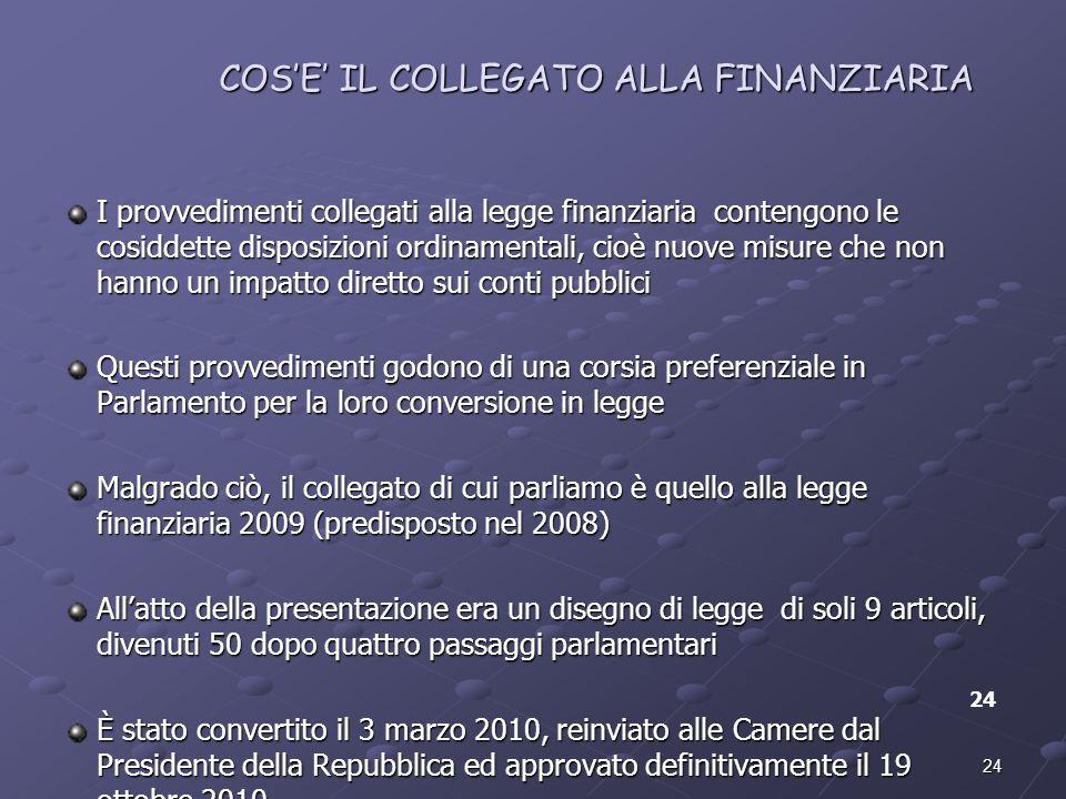 24 COSE IL COLLEGATO ALLA FINANZIARIA I provvedimenti collegati alla legge finanziaria contengono le cosiddette disposizioni ordinamentali, cioè nuove
