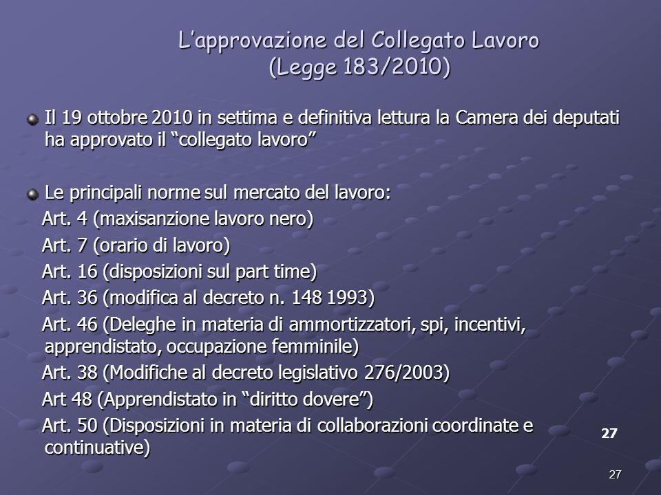 27 Lapprovazione del Collegato Lavoro (Legge 183/2010) Il 19 ottobre 2010 in settima e definitiva lettura la Camera dei deputati ha approvato il colle