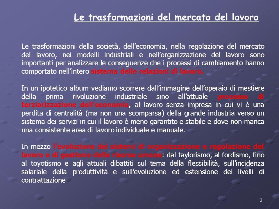 3 Le trasformazioni del mercato del lavoro Le trasformazioni della società, delleconomia, nella regolazione del mercato del lavoro, nei modelli indust