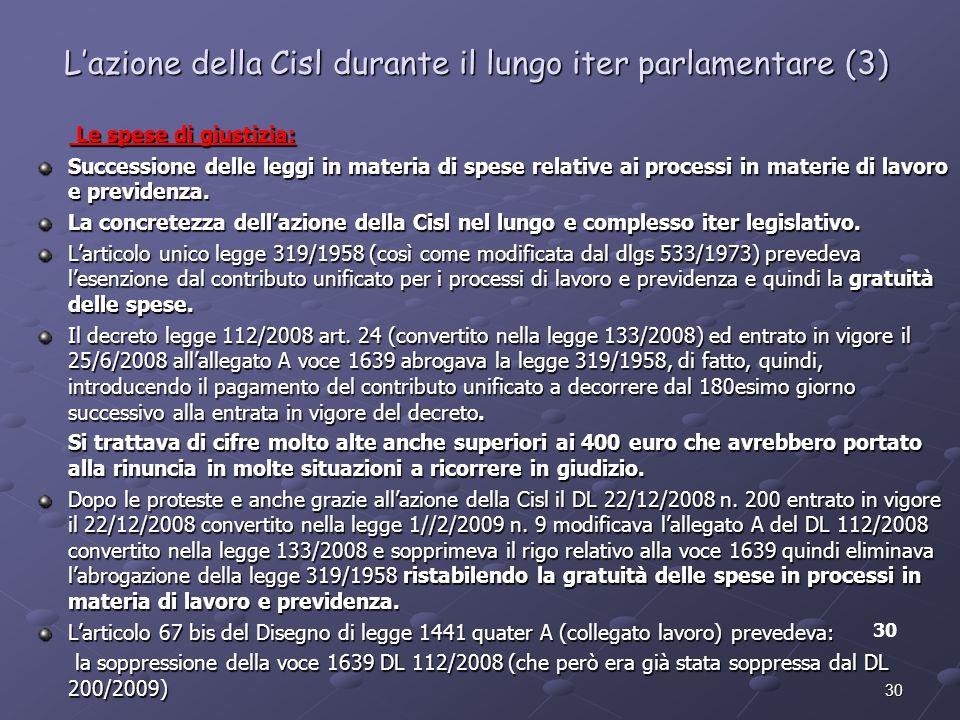 30 Lazione della Cisl durante il lungo iter parlamentare (3) Le spese di giustizia: Le spese di giustizia: Successione delle leggi in materia di spese