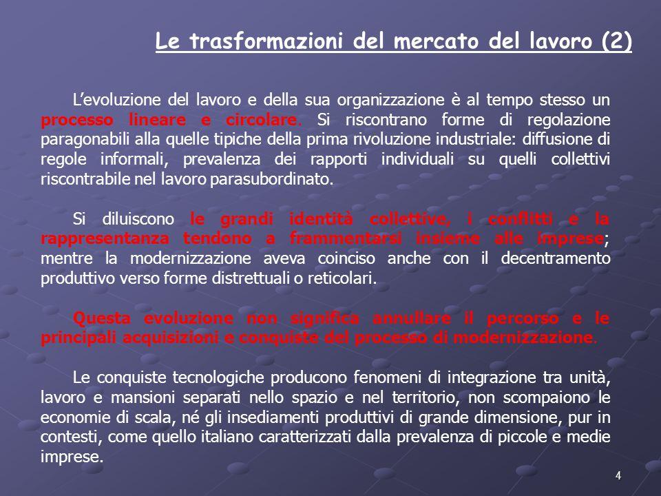 4 Le trasformazioni del mercato del lavoro (2) Levoluzione del lavoro e della sua organizzazione è al tempo stesso un processo lineare e circolare. Si