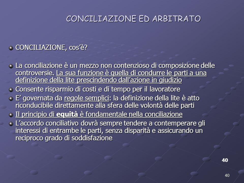 40 CONCILIAZIONE ED ARBITRATO 40 CONCILIAZIONE, cosè? La conciliazione è un mezzo non contenzioso di composizione delle controversie. La sua funzione