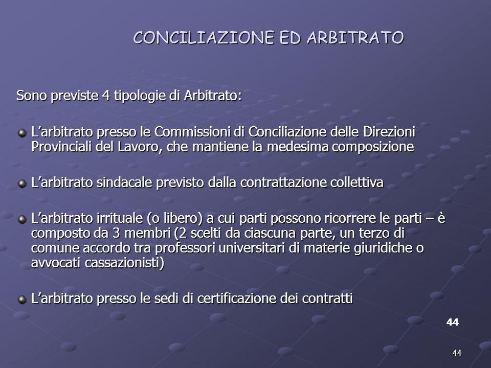44 CONCILIAZIONE ED ARBITRATO 44 Sono previste 4 tipologie di Arbitrato: Larbitrato presso le Commissioni di Conciliazione delle Direzioni Provinciali
