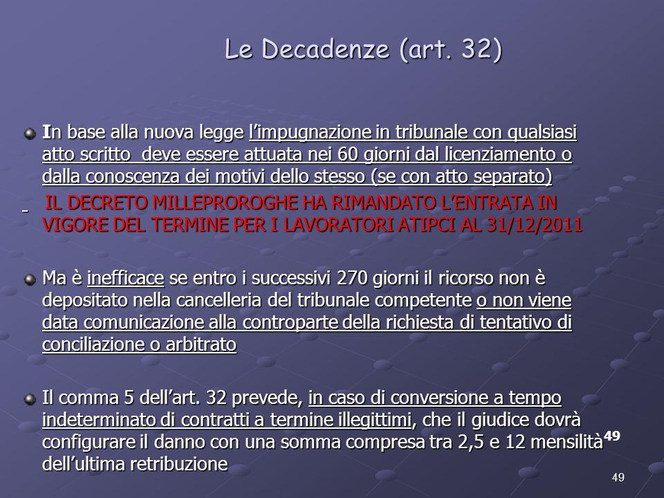 49 Le Decadenze (art. 32) 49 In base alla nuova legge limpugnazione in tribunale con qualsiasi atto scritto deve essere attuata nei 60 giorni dal lice