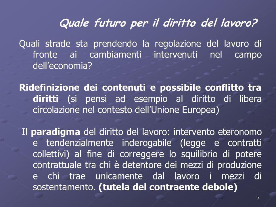 7 Quali strade sta prendendo la regolazione del lavoro di fronte ai cambiamenti intervenuti nel campo delleconomia? Ridefinizione dei contenuti e poss