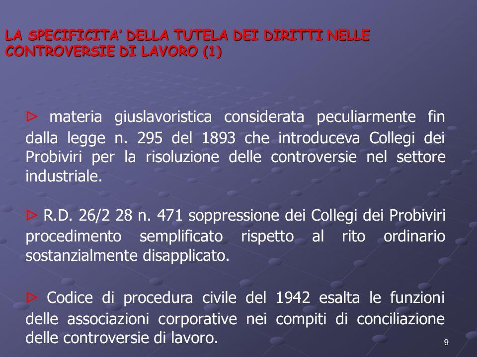 9 LA SPECIFICITA DELLA TUTELA DEI DIRITTI NELLE CONTROVERSIE DI LAVORO (1) materia giuslavoristica considerata peculiarmente fin dalla legge n. 295 de
