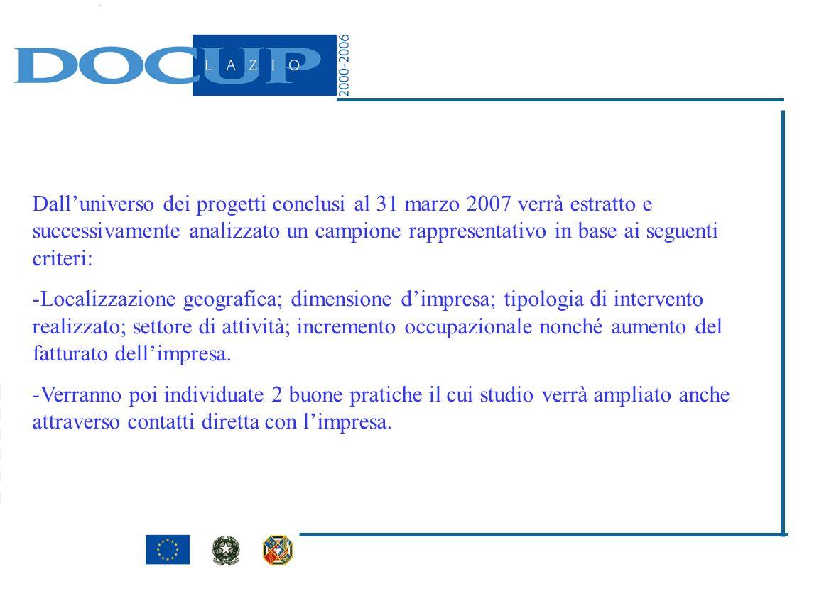 Dalluniverso dei progetti conclusi al 31 marzo 2007 verrà estratto e successivamente analizzato un campione rappresentativo in base ai seguenti criter