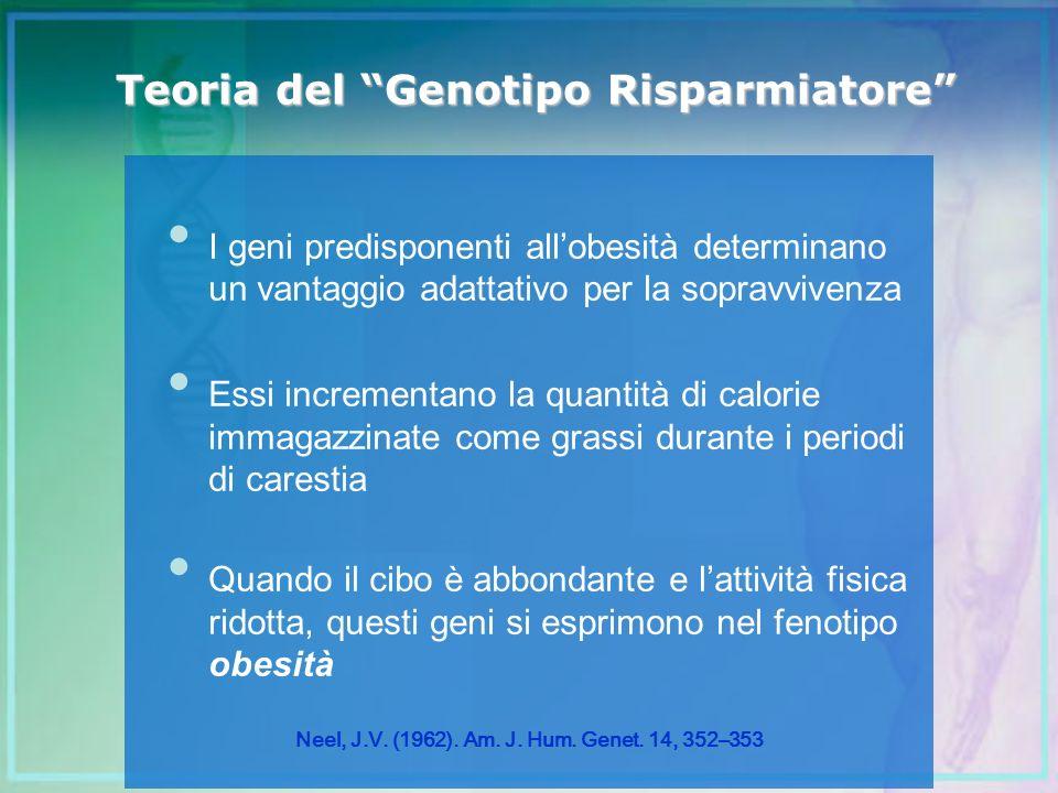 I geni predisponenti allobesità determinano un vantaggio adattativo per la sopravvivenza Essi incrementano la quantità di calorie immagazzinate come g
