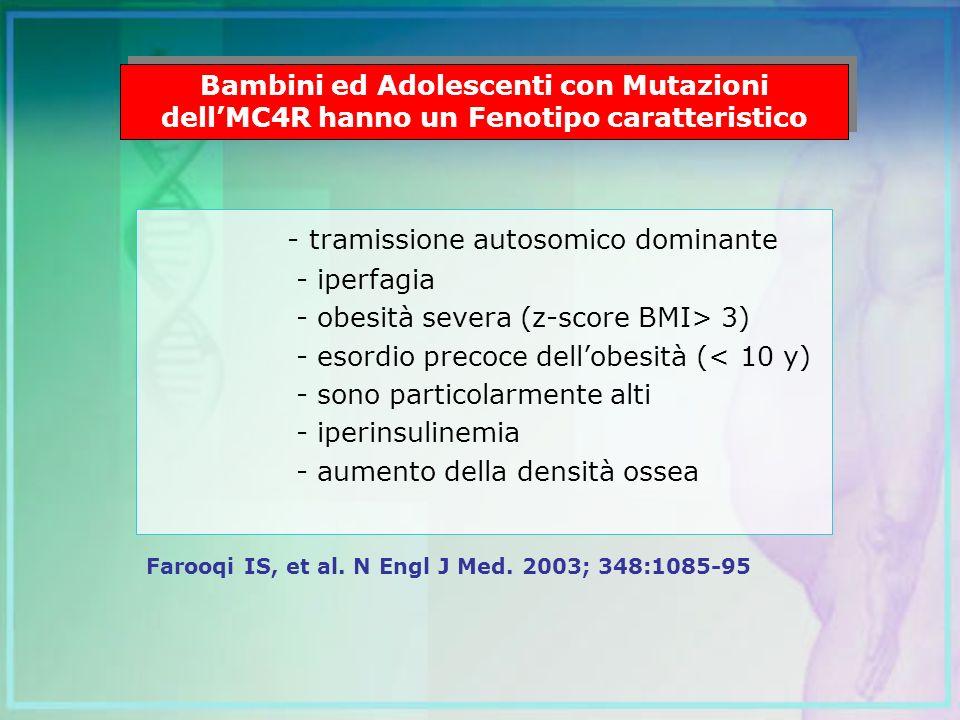 - tramissione autosomico dominante - iperfagia - obesità severa (z-score BMI> 3) - esordio precoce dellobesità (< 10 y) - sono particolarmente alti -
