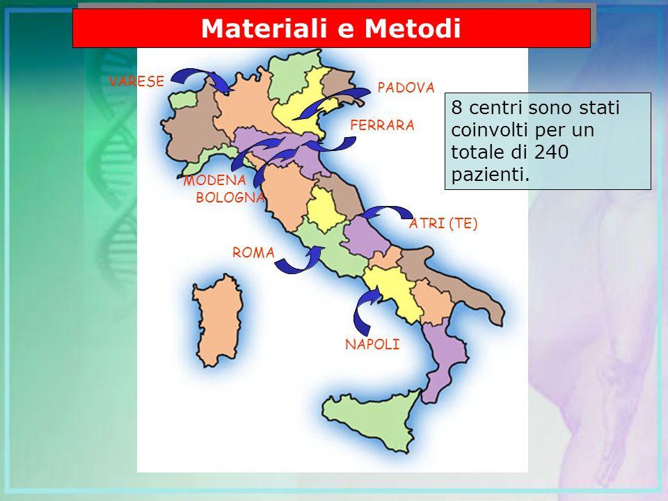 NAPOLI ROMA ATRI (TE) MODENA FERRARA BOLOGNA VARESE NAPOLI ROMA ATRI (TE) MODENA FERRARA BOLOGNA VARESE PADOVA Materiali e Metodi 8 centri sono stati